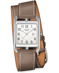 Hermès | Cape Cod, Stainless Steel & Leather Strap Watch | Lyst