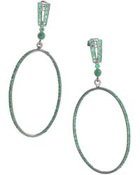 Sharon Khazzam Polka 18k White Gold & Emerald Drop Hoop Earrings - Green
