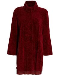 Saks Fifth Avenue Julia & Stella For Leather-lined Shearling Lamb Fur Coat - Red