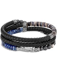 John Hardy Chain Collection Multi-stone, Sterling Silver & Leather Wrap Bracelet - Blue
