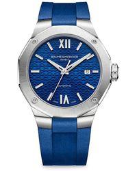 Baume & Mercier Riviera 10619 Stainless Steel & Rubber Strap Watch - Blue
