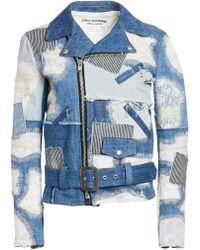 Junya Watanabe Patchwork Lace Denim Moto Jacket - Blue