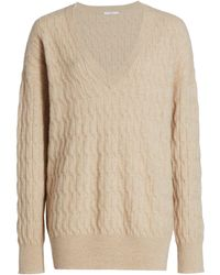 Co. Cable Knit V-neck Cashmere Sweater - White