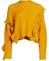 3.1 Phillip Lim Loft Crop Ruffle Wool & Alpaca-blend Sweater - Yellow