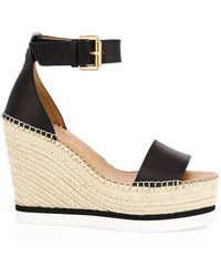 See By Chloé Espadrille Wedge Sandals - Black