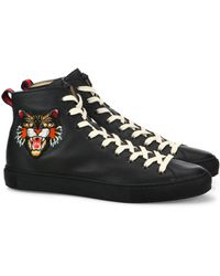 Embroidered high-top leather trainers Gucci 85bfSg9F3Q