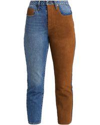 FRAME Le Original Suede Panel Cropped Jeans - Blue