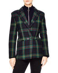 Sandro - Framboise Plaid Wool-blend Blazer - Lyst