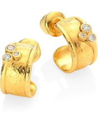 Gurhan - Pointelle Diamond & 22k Yellow Gold Stud Earrings - Lyst