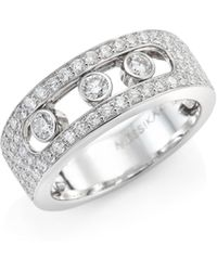 Messika - Move Joaillerie Pave Diamond & 18k White Gold Ring - Lyst