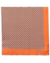 Brioni Grid Silk Pocket Square - Orange
