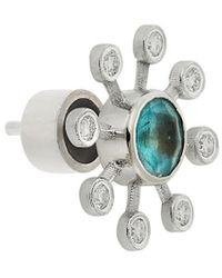Ileana Makri Florescence 18k , Apatite & Light Brown Diamond Blossom Stud Earrings - Metallic