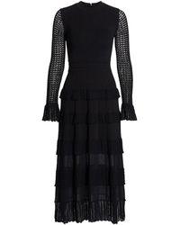 Lela Rose Ruffle Detail Long Sleeve Knit Midi Dress - Black