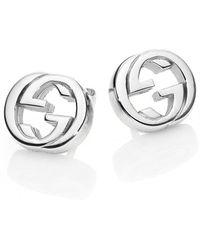 Gucci Women's Silver Interlocking G Sterling Stud Earrings - Metallic