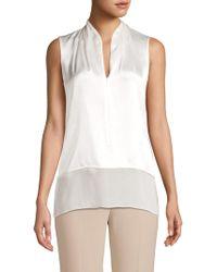 ffa5e831d09d0 Elie Tahari - Women s Rosie Silk Popover Sleeveless Blouse - Fresh Pearl -  Size Xs -