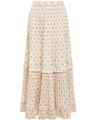 Polo Ralph Lauren Jaclyn Floral Belted Pleated Ruffled Maxi Skirt - Natural
