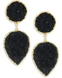Nest - Black Druzy & 24k Goldplated Clip-on Earrings - Lyst