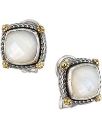 Konstantino Delos 18k Yellow Gold, Sterling Silver & 7.25mm Square Mother-of-pearl Stud Earrings - Metallic