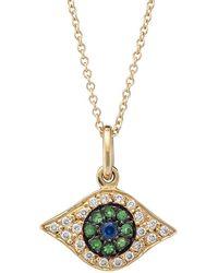 Ileana Makri Evil Eye 18k Yellow , Diamond & Tsavorite Kitten Eye Pendant Necklace - Metallic