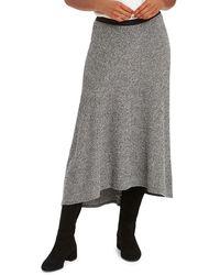 NIC+ZOE Cozy Aside Midi Skirt - Gray
