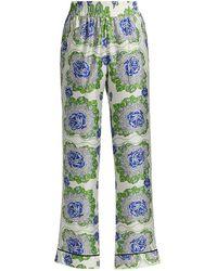Rodarte Floral Printed Silk Twill Pajama Pants - Green