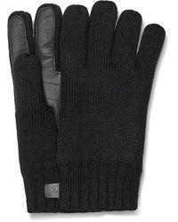 UGG Palm Patch Leather & Knit Gloves - Black