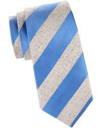 Isaia Textured Stripe Silk Tie - Blue