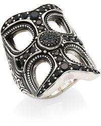 Konstantino Circe Sterling Silver & Black Spinel Statement Ring - Metallic