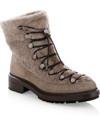Aquatalia - Lorena Shearling-trim Suede Ankle Boots - Lyst