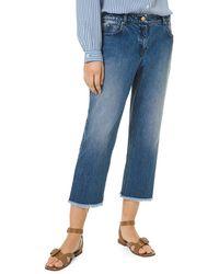 Michael Kors Frayed Crop Jeans - Blue