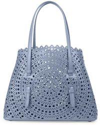 Alaïa Medium Mina Perforated Leather Tote - Blue