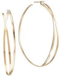 Lana Jewelry 14k Yellow Gold & Diamond Illusion Hoop Earrings - Metallic