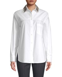 Piazza Sempione - Embellished Collar Button Down Shirt - Lyst
