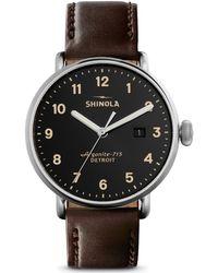 Shinola - Coin Edge Leather Strap Watch - Lyst