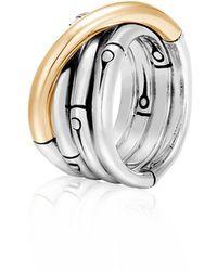 John Hardy Bamboo 18k Yellow Gold & Sterling Silver Band Ring - Metallic