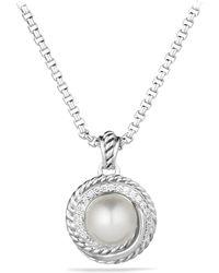 David Yurman - Pearl Crossover Pendant With Diamonds On Chain - Lyst
