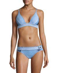 Jonathan Simkhai - Denim V-neck Bikini Top - Lyst