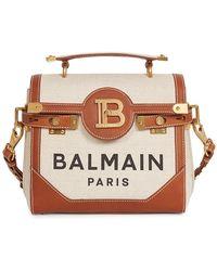 Balmain B-buzz Cotton & Linen Satchel - Natural