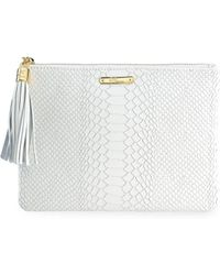 Gigi New York - All-in-one Python-embossed Leather Clutch - Lyst