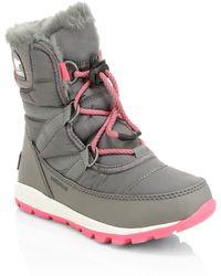 Sorel - Kid's Whitney Waterproof Faux Fur Lace-up Boots - Lyst