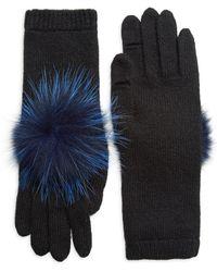 Eugenia Kim - Women's Sloane Fox Fur Pom-pom & Cashmere Gloves - Black - Lyst
