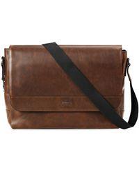 Shinola Men's Slim Navigator Leather Messenger Bag - Brown