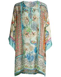 Johnny Was Bayhill Silk Kimono Tunic - Blue