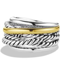 David Yurman - Crossover Narrow Ring With Gold - Lyst