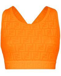Fendi Logo Ff Fendirama Embossed Fitness Top - Orange