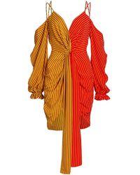 AMUR Off-the-shoulder Deep V Sheath Dress - Red
