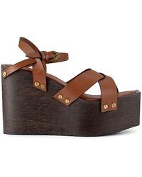 FRAME Le Melrose Leather Wedge Sandals - Brown