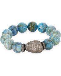 Bavna | Pave Diamond Agate Bead Bracelet | Lyst