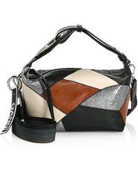 Ganni Patchwork Leather Hobo Bag - Black