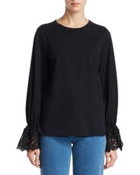 See By Chloé - Lace Bell Sleeve Tee - Lyst